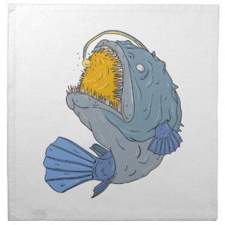 Anglerfish Swooping up Lure Drawing Printed Napkins