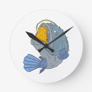 Anglerfish Swooping up Lure Drawing Round Clock