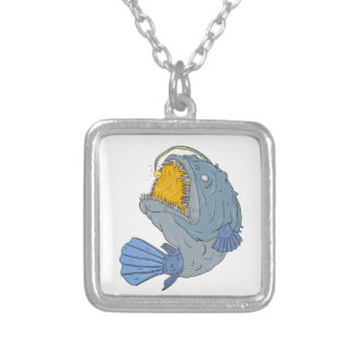Anglerfish Swooping up Lure Drawing Silver Plated Necklace