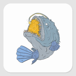 Anglerfish Swooping up Lure Drawing Square Sticker