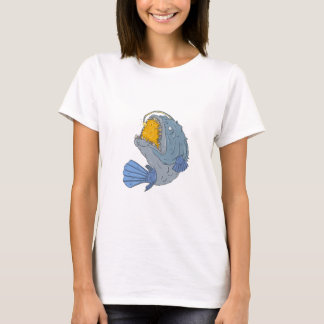 Anglerfish Swooping up Lure Drawing T-Shirt