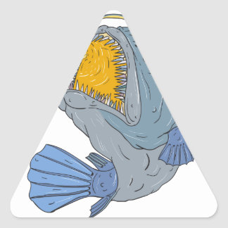 Anglerfish Swooping up Lure Drawing Triangle Sticker