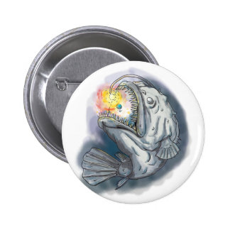 Anglerfish Swooping up Solar System Lure Watercolo 2 Inch Round Button
