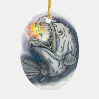 Anglerfish Swooping up Solar System Lure Watercolo Ceramic Oval Ornament