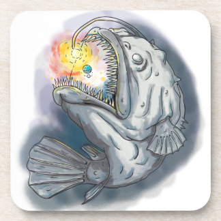 Anglerfish Swooping up Solar System Lure Watercolo Coaster
