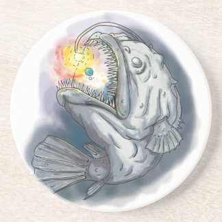 Anglerfish Swooping up Solar System Lure Watercolo Coasters