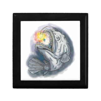 Anglerfish Swooping up Solar System Lure Watercolo Keepsake Boxes