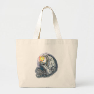 Anglerfish Swooping up Solar System Lure Watercolo Large Tote Bag