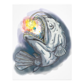 Anglerfish Swooping up Solar System Lure Watercolo Letterhead Template
