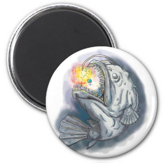 Anglerfish Swooping up Solar System Lure Watercolo Magnet