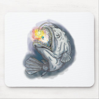 Anglerfish Swooping up Solar System Lure Watercolo Mouse Pad