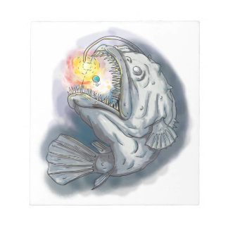 Anglerfish Swooping up Solar System Lure Watercolo Notepad