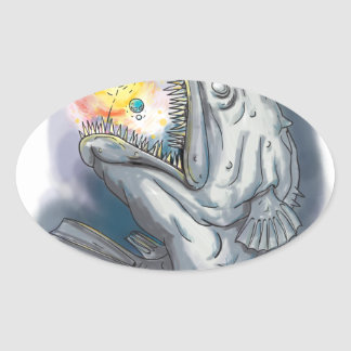 Anglerfish Swooping up Solar System Lure Watercolo Oval Sticker