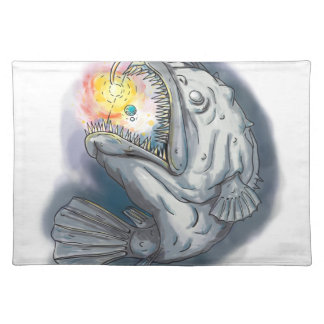 Anglerfish Swooping up Solar System Lure Watercolo Place Mat