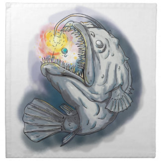 Anglerfish Swooping up Solar System Lure Watercolo Printed Napkin