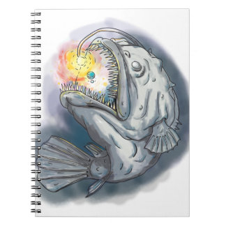 Anglerfish Swooping up Solar System Lure Watercolo Spiral Notebook