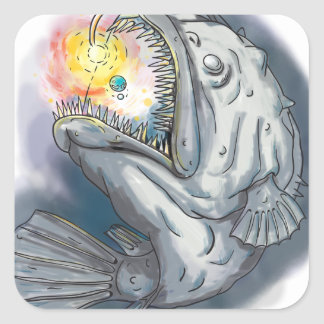 Anglerfish Swooping up Solar System Lure Watercolo Square Sticker