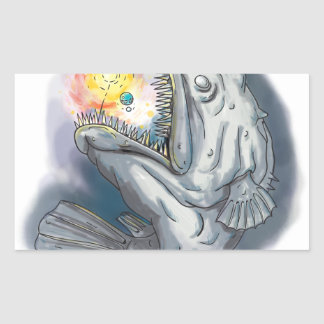 Anglerfish Swooping up Solar System Lure Watercolo Sticker