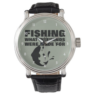 Anglers Fishing Themed Funny Slogan Wristwatches