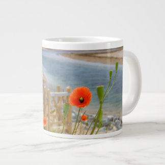 Anglesey Wales Scenic View Beach And Wild Poppies Large Coffee Mug