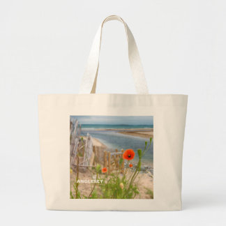 Anglesey Wales Scenic View Beach And Wild Poppies Large Tote Bag
