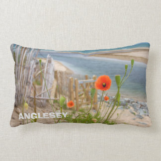Anglesey Wales Scenic View Beach And Wild Poppies Lumbar Pillow