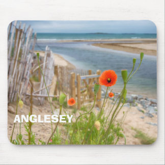 Anglesey Wales Scenic View Beach And Wild Poppies Mouse Pad