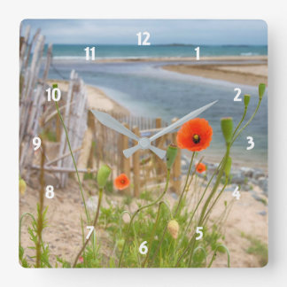 Anglesey Wales Scenic View Beach And Wild Poppies Square Wall Clock
