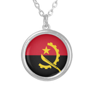 Angola Flag Silver Plated Necklace