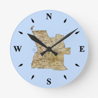Angola Map Clock