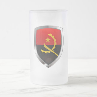 Angola Mettalic Emblem Frosted Glass Beer Mug