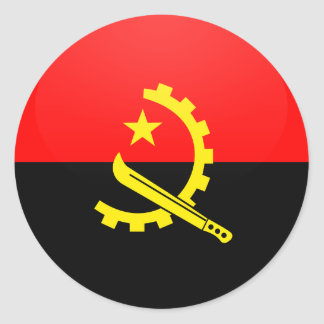 Angola quality Flag Circle Classic Round Sticker