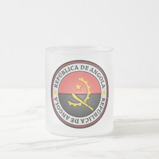 Angola Round Emblem Frosted Glass Coffee Mug