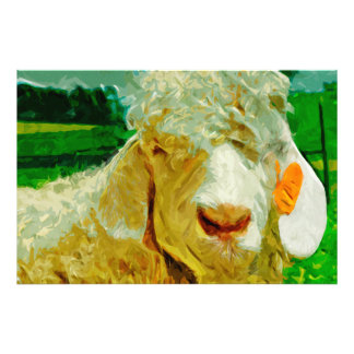 Angora Goat With Ear Tag Abstract Impressionism