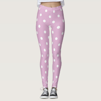 Angora Pink Polka Dots Leggings