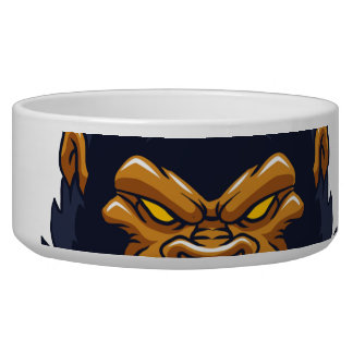angry ape gorilla face dog food bowl