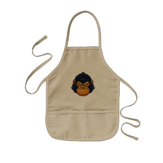 angry ape gorilla face kids apron