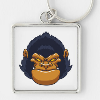 angry ape gorilla face Silver-Colored square keychain
