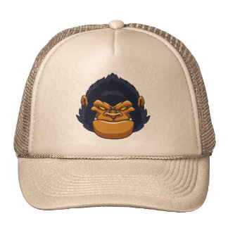 angry ape gorilla face trucker hat