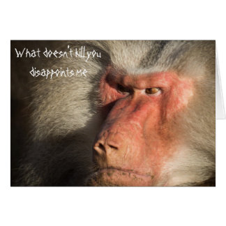 Angry Baboon Monkey What Doesn't Kill  You Card
