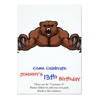 "Angry Bear 5"" X 7"" Invitation Card"