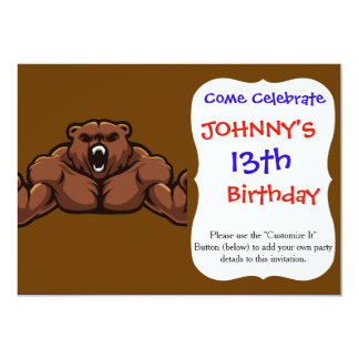 "Angry Bear 5"" X 7"" Invitation Card"