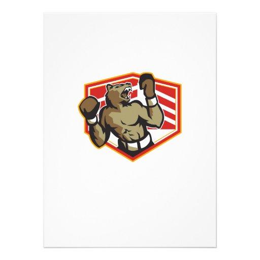 Angry Bear Boxer Boxing Retro Custom Invitations