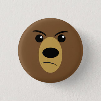 Angry Bear Face 1 Inch Round Button