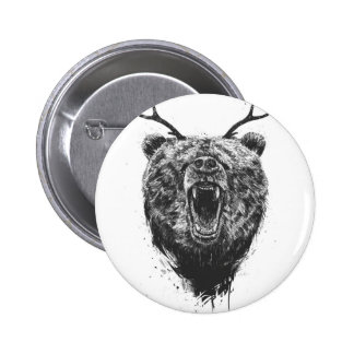 Angry bear with antlers 2 inch round button
