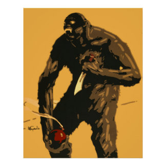 Angry Bigfoot with Knife and Bomb! Print