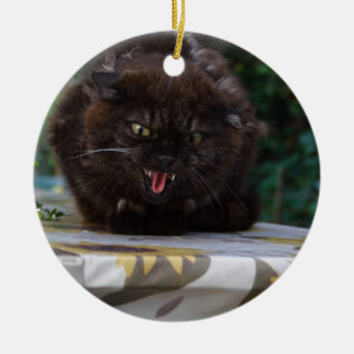 Angry Black Cat Ceramic Ornament
