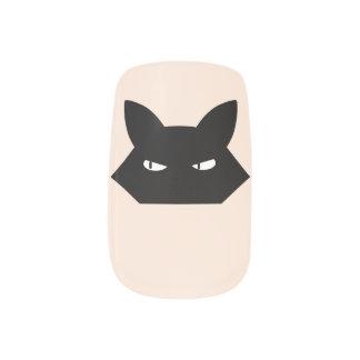 Angry black cat nail art