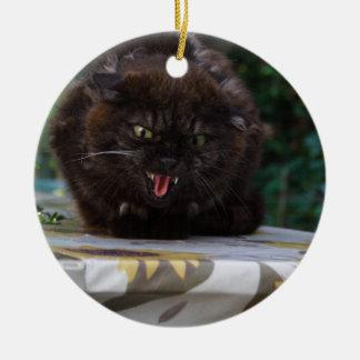 Angry Black Cat Round Ceramic Ornament