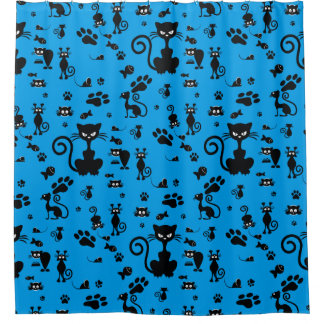 Angry Black Cat Shower Curtain